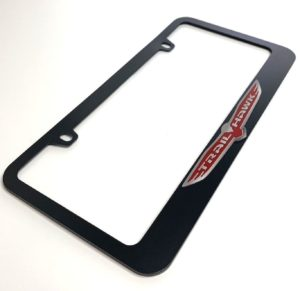 Jeep Trail Hawk License Plate Frame - Black with Chrome Script