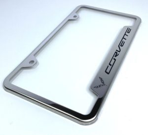 Chevrolet Corvette C7 License Plate Frame - Chrome with Logo
