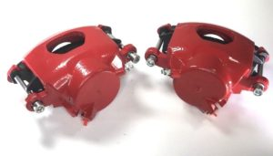 Pair of GM Front Single Piston Brake Calipers with Pads - Red Powder Coated