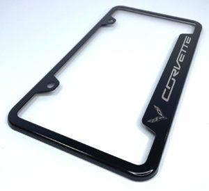 Chevrolet Corvette C7 License Plate Frame - Black with Logo