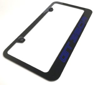 Ford Shelby Mustang GT350R License Plate Frame - Black with Blue Script
