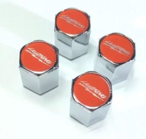 Ford Lightning Tire Valve Stem Caps - Red with Silver (Set of 4)