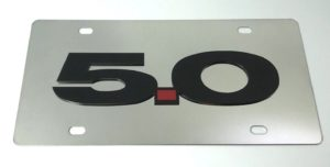 Ford Mustang 5.0 License Plate - Chrome with Black Script