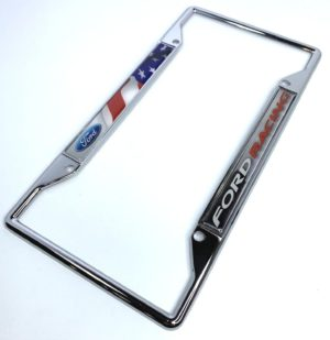 Ford Racing License Plate Frame - Chrome with American Flag
