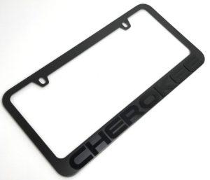 Jeep Cherokee License Plate Frame - Black with Black Script