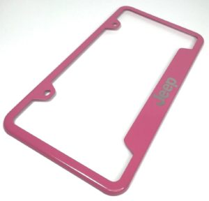 Jeep License Plate Frame - Pink with Logo