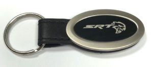 Dodge SRT Hellcat Keychain - Black Leather Oval