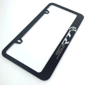 Dodge SRT Hellcat License Plate Frame - Black with Chrome Script