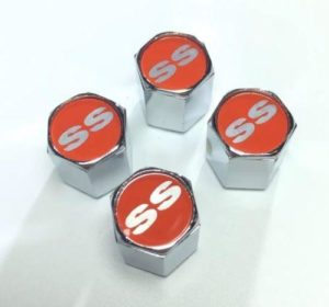 Chevy Super Sport Tire Valve Stem Caps - Red with Silver (Set of 4)