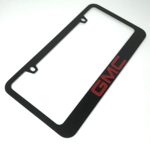 GMC License Plate Frame - Black with Red Letters
