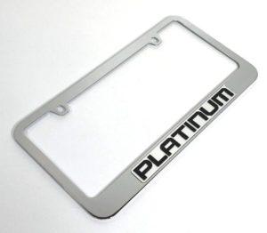 Ford Platinum License Plate Frame - Chrome with Black Script