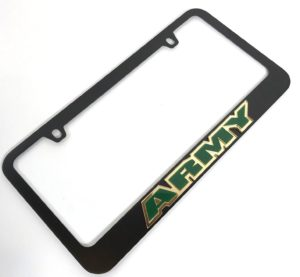 Army License Plate Frame - Black with Green Letters