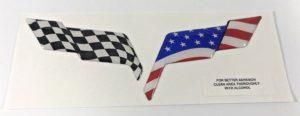 Chevrolet Corvette C6 Emblem Overlay - 2005-2013 American Flag / Racing Flag