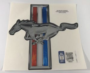 Ford Mustang Decal - Red White & Blue Stripes with Mustang Horse Logo