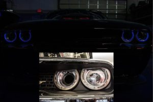 2015-2018 Dodge Challenger Blue LED Halo Rings - Brushed Stainless