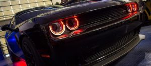 2015-2018 Dodge Challenger Red LED Halo Rings - Brushed Stainless