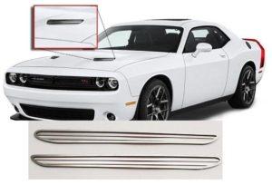 Pair of 2015-2018 Dodge Challenger Hood Scoop Overlays - SXT R/T Billet Style