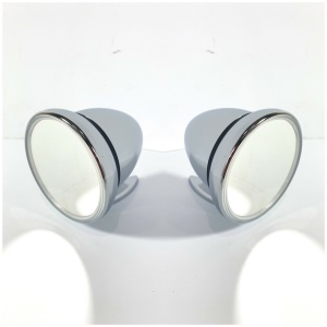 Pair of Bullet Mirrors - Chrome Side Rearview GT Mirrors