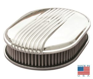 "12"" Oval Polished Fading Finned Air Cleaner - ""The Comet"""