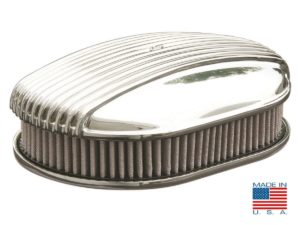 "12"" Oval Polished Fully Finned Air Cleaner - ""Razorback"""