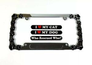 Dog & Cat Paw Print License Plate Frame - Chrome