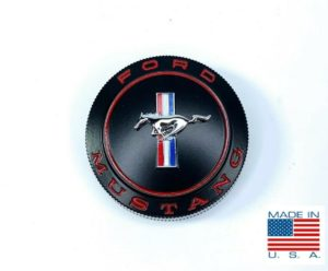 Gas Cap with Cable For 1965-1966 Ford Mustang - Black with Red Pony Emblem