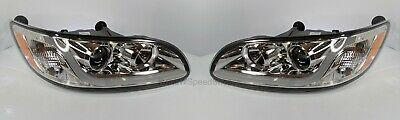 Pair Chrome Peterbilt Projection Headlights with Dual Function LED Light Bar