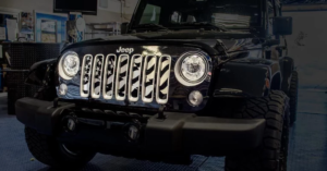 2007-2018 Jeep Wrangler American Flag Grill Insert - Brushed Stainless Steel