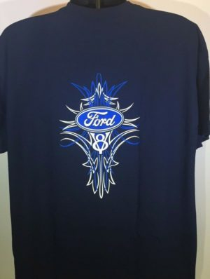 Ford V8 T Shirt - Blue Pinstripe Logo / Emblem