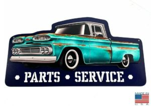 """1960 Chevy C10 Pickup Truck Parts & Service Metal Sign (21 1/4"""" x 11 1/4"""")"""