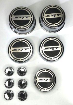 2008-2018 Hemi SRT Fluid & Shock Tower Cap Cover 11 Pc Set - Brushed Black w/ Chrome