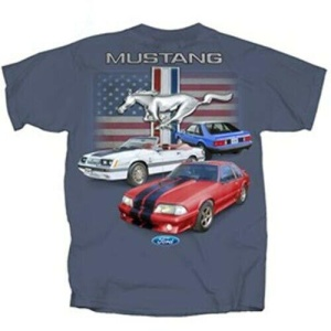 Ford Mustang T Shirt - Blue with American Flag and Fox Body Mustangs