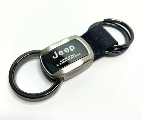 Jeep Keychain - Black Metal & Leather for Grand Cherokee