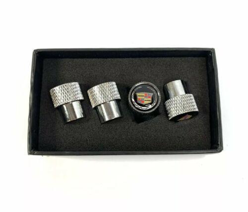 Cadillac Valve Stem Caps - Knurled Chrome w/ Black