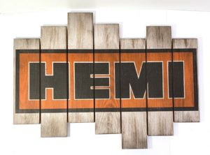 "Vintage Dodge Hemi Wooden Plaque Sign (31 1/4"" x 23 1/2"")"
