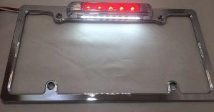 LED Chrome License Plate Frame w/ Third Brake Light Function - Red Lens