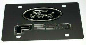 Ford F-250 Vanity License Plate - Black w/ Chrome Script