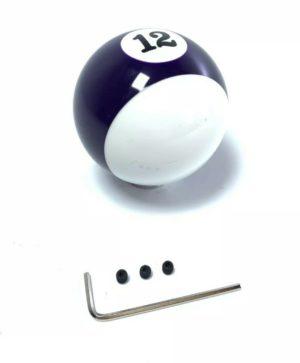 Pool Ball Gear Shift Knob (Purple Stripes, Number 12)