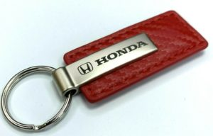 Honda Keychain - Red Carbon Fiber Look Leather