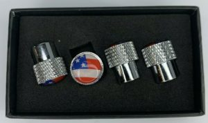 American Flag Valve Stem Caps - Knurled Chrome
