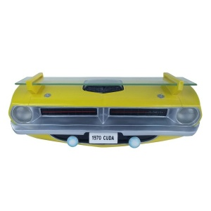 1970 Plymouth Barracuda Cuda Wall Shelf - Yellow with Working Headlights