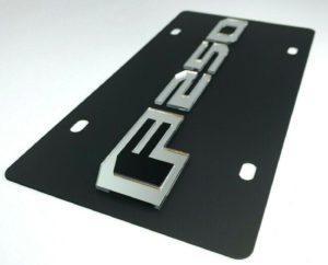 Ford F-250 Script Vanity License Plate - Black