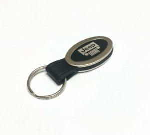 Jeep Keychain - Black Leather w/ Grille Emblem
