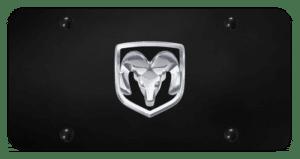 Dodge Ram Emblem License Plate - Black & Chrome