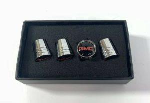 GMC Valve Stem Caps - Tapered Chrome w/ Black