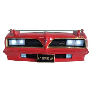 1977 Pontiac Firebird Red & Gold Wall Shelf Front End with Working Headlights