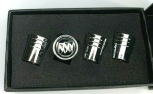 Buick Valve Stem Caps - Tapered Chrome w/ Black