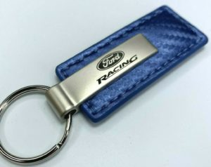 Ford Racing Keychain - Blue Carbon Fiber Look Leather