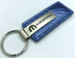 Mopar Keychain - Blue Carbon Fiber Leather