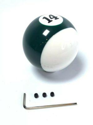 Pool Ball Gear Shift Knob (Green Stripes, Number 14)